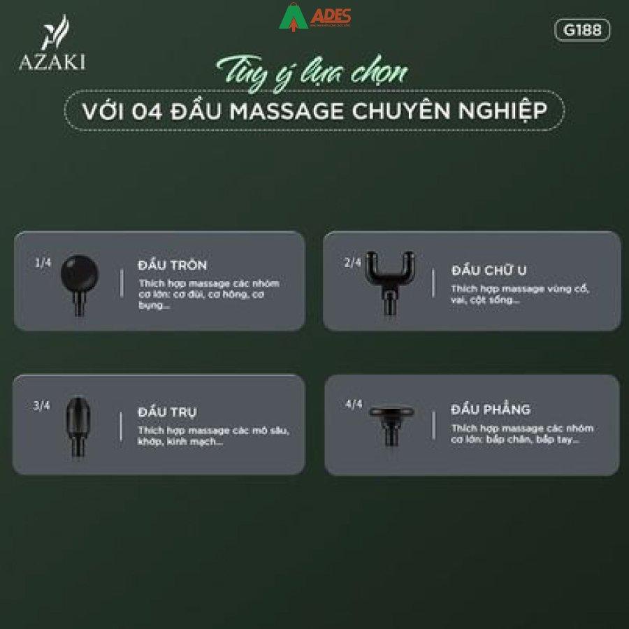 May Massage Azaki G188 trang bi 4 dau massage chuyen dung